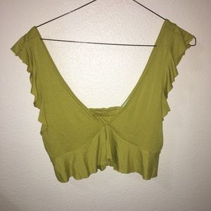 URBAN OUTFITTERS RUFFLE CROPED BRA TOP